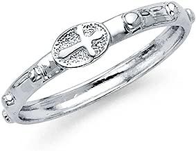 white gold rosary ring
