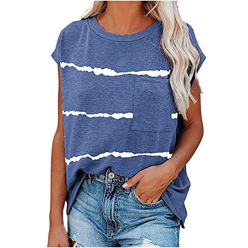 Camiseta de manga corta para mujer, de verano, con flores, cuello redondo, informal, para mujeres, niñas, adolescentes, fitness, deporte, camisa, blusa marine XL