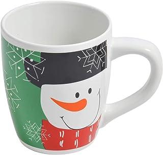 Jumbobeker sneeuwpop - 700ml - cacaobeker koffiebeker kerstbeker met handvat, wit kerstcadeau geschenkidee (groen)