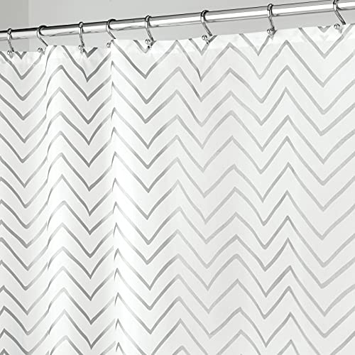 mDesign Long Decorative Metallic Pattern, Water Repellent, Fabric Shower Curtain for Bathroom Showers and Stalls, Machine Washable - Chevron Zig-Zag Print, 72' x 84' - White/Silver