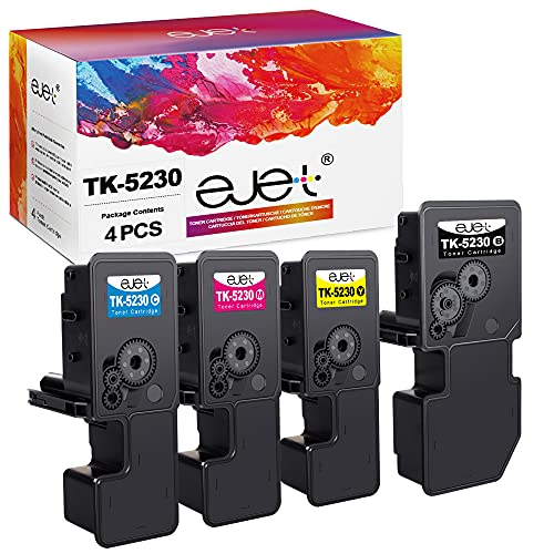 ejet TK-5230 Kompatibel für Kyocera TK 5230 TK5230 Toner für Kyocera Ecosys M5521CDN M5521CDW P5021CDN P5021CDW (1 Schwarz 1 Cyan 1 Magenta 1 Gelb)