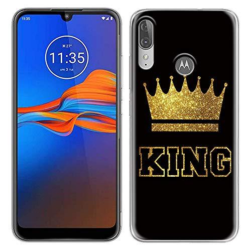 Yoedge Motorola Moto E6 Plus Hülle, Silikon Transparent TPU Schutzhülle Handyhülle mit King Queen Muster Motiv Hülle Superdünn Stoßfest Tasche Weich Back Cover Moto E6 Plus 6,1