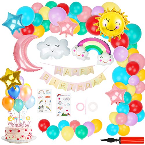 Ulikey Geburtstag Dekoration Geburtstagsdeko Luftballons Pastell für Junge Mädchen, Himmel Thema mit Happy Birthday Banner, Sonne Mond Stern Regenbogen Wolken Ballon, Happy Birthday Kerzen
