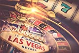 Casino Karten Spielautomat Roulette XXL Wandbild Kunstdruck