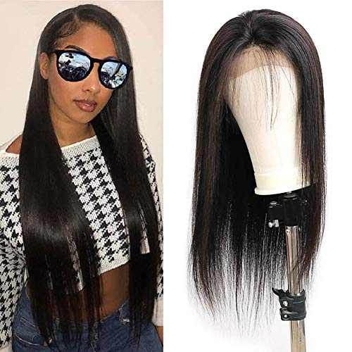 Lace Front Wig with Baby Hair Bleached Knots Adjustable Straps 130% Density Glueless Natural Hairline Brazilian Virgin Remy Human Hair 16 Inch