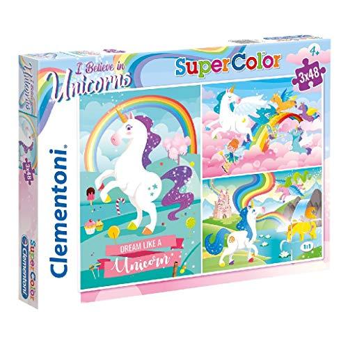 Clementoni-Clementoni-25231-Supercolor-Unicorno Brilliant-3 x 48 pièces Puzzle Unicorno-3x48 Pezzi, Multicolore, 25231