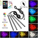 Interior Car Lights, 4pcs 48 USB Car LED Strip Lights, MultiColor Music LED Interior Light Under Dash Lighting...