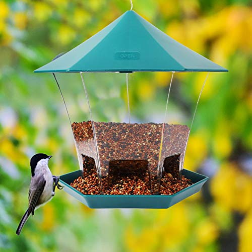Juegoal Wild Bird Feeder Hanging for Outside Garden Yard Decoration Green Hexagon Shaped with Roof