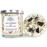 Cleansing Pure & Natural Soy Candle 100% Natural & Non Toxic with Crystals, Lemon, Eucalyptus & Rosemary Herbs and Essential Oils for Purification & Negativity (Wiccan Pagan Magick)