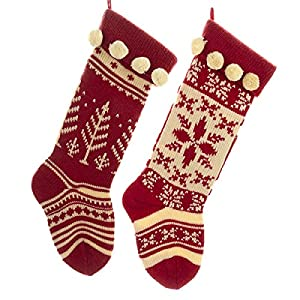 These Red and Cream Knit Stockings by Kurt Adler are a beautifully vintage addition to any holiday decor! Kurt Adler specializes in beautifully detailed Christmas Ornaments and holiday seasonal decor designed exclusively with your needs in mind! Crea...