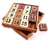 Logica Juegos Art. Puzzle 15+16 - Juego del 15 - 2 Retos en 1 - Rompecabezas Deslizante de Madera - Serie Euclide