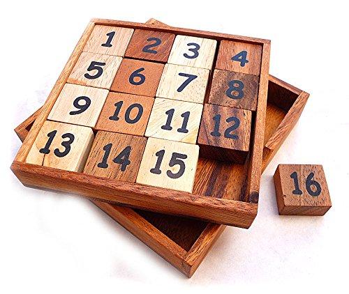 Logica Spiele Art. 15er und 16er Puzzle - Schiebepuzzle - Magisches Quadrat - Denkspiel aus Holz - Fifteen Puzzle - Euklide Serie