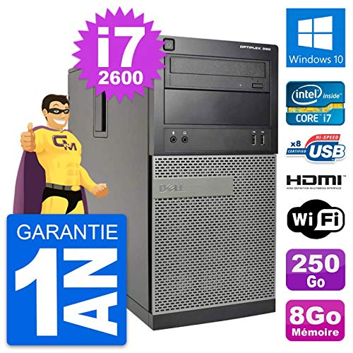 Dell PC Tour Optiplex 390 MT i7-2600 RAM 8Go Disk 250Go HDMI Windows 10 Wifi (Reconditioned)