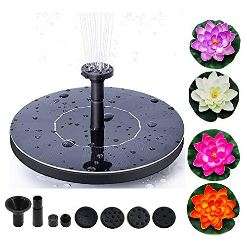 Solar Power Fountain Pump, 1.5W Circle Floating Solar Water Pump with 6 Nozzles Garden Outdoor Floating Fountain Pump for Birdbaths or Ponds,Floating Pond Decor Water Lily