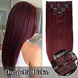 TESS Clip in Echthaar Extensions guenstig Haarverlängerung Doppelt Tressen für komplette Haarextension 8 Teile 18 Clips Glatt 7A Dick Hair (40cm-130g, 99J Weinrot)