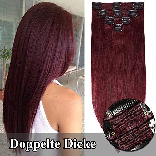TESS Clip in Extensions Echthaar Haarteile guenstig Haarverlängerung Doppelt Tressen für komplette Haarextension 8 Teile 18 Clips Glatt 7A Dick Hair (55cm-160g, 99J Weinrot)