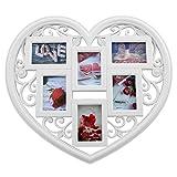 PrimoLiving Bilderrahmen Herzform für 6 Fotos P-048 weiß