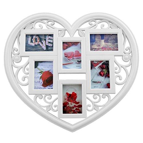 PrimoLiving Herz Bilderrahmen P-048, weiß, ca. 36x32,5x2 cm