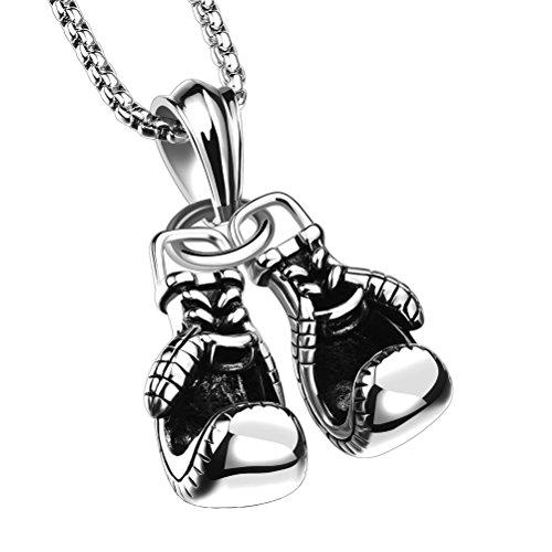 PAURO Herren 316l Edelstahl Boxhandschuh Charm Anhänger Halskette Silber