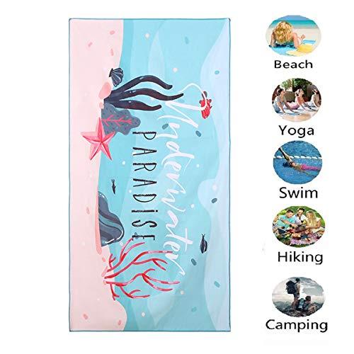 Ponacat Strandtuch, Mikrofaser, schnelltrocknend (30 x 60), Handtuch, super saugfähig, beidseitig bedruckt, mit Tasche aus Netz, Handtuch, Sandfrei, für Reisen, Fitnessstudio, Camping, Pool C