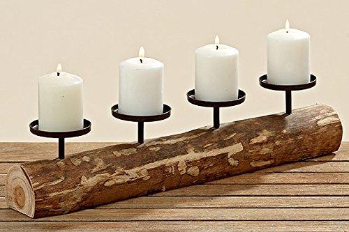 4TGL. adventskranz Kerzenleuchter Deko Tempe Holz Metall Braun L51cm 4221300