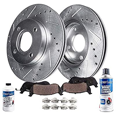 Detroit Axle - Pair (2) Front Drilled and Slotted Disc Brake Kit Rotors w/Ceramic Pads w/Hardware & Brake Kit Cleaner & Fluid for 2005 2006 2007 Ford Focus
