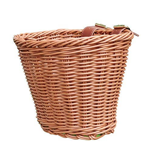 Childrens Wicker Bicycle Basket,Kids Front Handlebar Bike Basket for Boys and Girls,Water Resistant Handmade Woven Rattan Bike Basket with Adjustable Leather Straps (Brown)