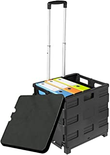 Lavohome Trolley Universal Rolling Cart with Telescoping Handle and Lid Cover for Office