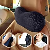 Flexicomfort Car Neck Pillow for Driving - Memory Foam Headrest Pillow with Easy-to-Carry Portable Bag - Compact Multi Purpose Travel Pillow - Machine Washable Soft Plush Cover - Extension Strap