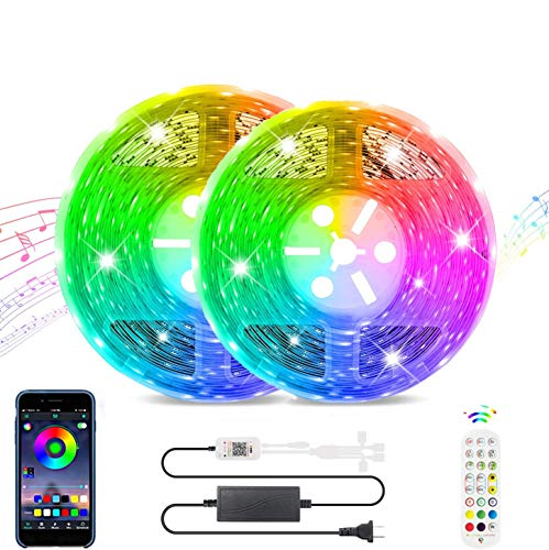 LED Strip Lights Works with Bluetooth, Remote,16 Million Colors Phone App Controlled Music Light Strip for Home, Kitchen, TV, Party, for iOS and Android