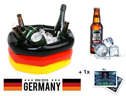TK Gruppe Timo Klingler Aufblasbarer Kühler Getränkekühler Bierkühler Biereimer Eimer für Bier, Getränke UVM. Deko Dekoration als Fanartikel schwarz rot gelb