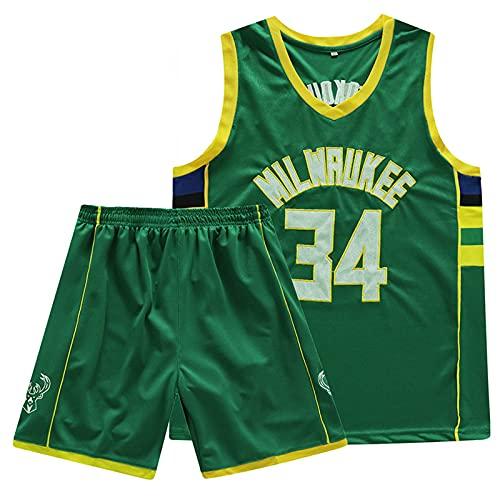 LZ123456 Camiseta de Baloncesto de la NBA Milwaukee Bucks Giannis Antetokounmpo Camiseta # 34 Pantalones Cortos Traje de 2 Piezas para fanáticos Entrenamiento de Ocio Deportivo Traje de 2 Piezas