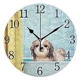 Wall Clock Arabic Numerals Design Cute Wet Shitzu Dog Round Wall Clock for Living Room Bathroom Home Decorative