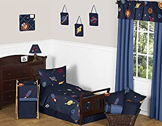 Sweet Jojo Designs 5-Piece Space Galaxy Galactic Planets Rocket Ship Boys Girls Toddler Bedding Set