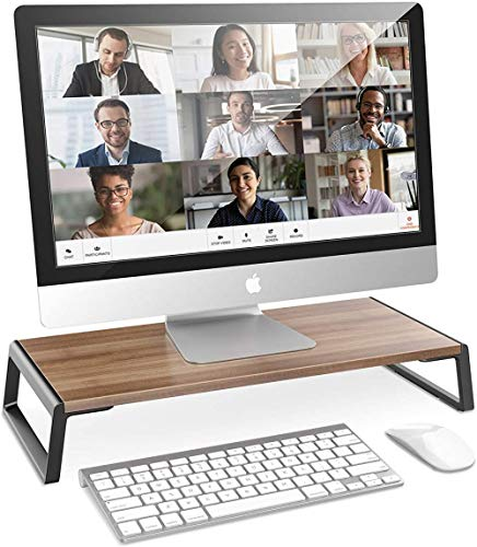 Monitor Stand Riser with Keyboard Storage, Wood Computer Stand for PC, Laptop, Printer, Home Office Desk Organizer 50x24x9 cm-A