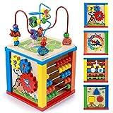 5 in 1 Cubo Multiattività Legno Labirinto di Attività Giochi Interattivo Regalo per Bambino Bambini 1 2 3 4 Anno Montessori Educativi Attivita Giocattolo con Forme Legno Labirinti Gioco Incastri