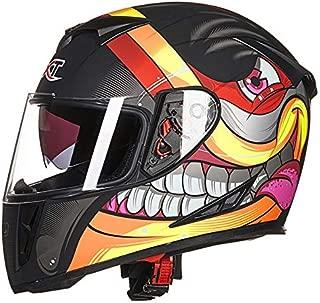 Leoie Men Advanced Motorcycle Electrombile Helmet Four Seasons Double Lens Anti-Fog Full Helmet Matte Black Graffiti XXL