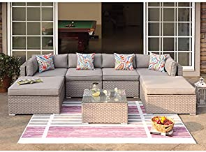COSIEST 7-Piece Outdoor Furniture Warm Gray Wicker Family Sectional Sofa w Thick Cushions, Glass Top Coffee Table, 2 Ottomans, 4 Floral Fantasy Pillows for Garden, Pool, Backyard