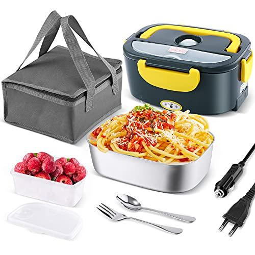 Andmenow Chauffe-plat électrique, 3 en 1 (12 V/24 V/220 V) 50 W en acier inoxydable 1,5 L avec fourchette et cuillère pour voiture, camion et bureau (Gris + jaune)