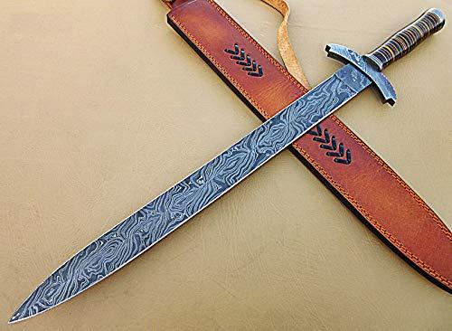 Poshland SW-06 Handmade Damascus Steel 25.00 Inches Sword - Beautiful Three Tone Micarta Handle with...