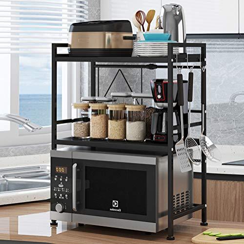 Vinteky 3 étage Support Extensible en Métal Four à Micro-Ondes de Fourniture de Vaisselle Vaisselle de Stockage Compteur d'économiseur d'espace Organisateur Titulaire d'épice (Noir)