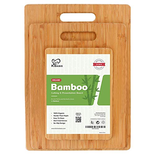 K BASIX Bamboo Cutting Board 3 Pcs Set - Premium 100% Organic Wood Cutting Board for Chopping Meat, Butcher Block, Veggies & Cheese - Natural Cutting Boards for Kitchen-Non Slip Design