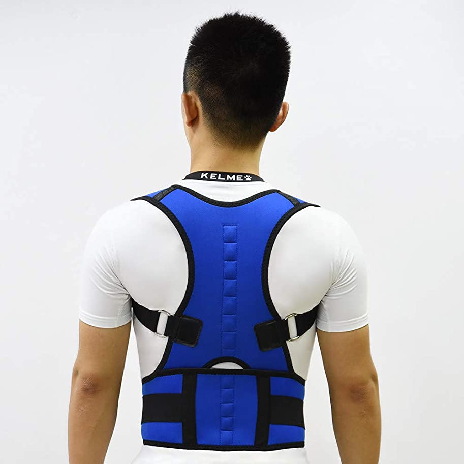 図書館シネマ平和的背部サポート姿勢装具、調節可能なショルダーストラップ付きの背部サポートにより、腰痛を軽減し、姿勢を改善し、腰部サポートを提供,ブルー,M