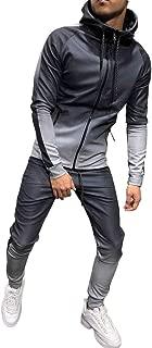 Mens Autumn Winter Packwork Print Sweatshirt Top Pants Sets Sport Suit Tracksuit