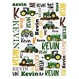 Excelliti Personalized Green Tractor Farm Vehicles Gift Idea for for Kids Son Infant Boy Toddler 3 Sizes Fleece Blanket Ultra Softs for Nursery Baby Shower Birthday Any Occasions (Small (30x40in))
