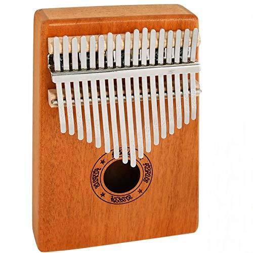 TIMESETL Kalimba 17 teclas Piano de pulgar con melodía e instrucción de estudio, cuerpo de madera de caoba maciza Piano de dedo Kalimba, regalo para niños principiantes adultos profesional