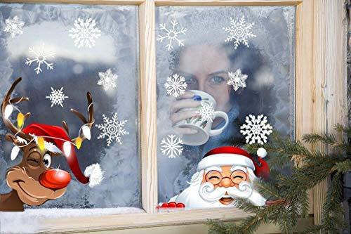 heekpek Fensterbilder Schneeflocke Weihnachten Fensterdeko Weihnachtsmann Elch Aufkleber PVC ungiftig Aufkleber Weihnachten Festival Dekoration Fenster Aufkleber für Haus und Geschäfte