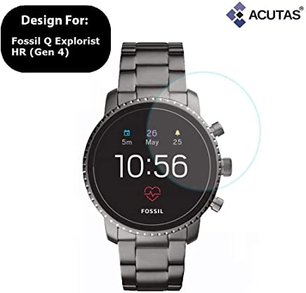 Acutas Tempered Glass for Fossil Q Explorist HR (Gen 4) (Transparent) Full Screen Coverage (Except Edges) with easy installation kit