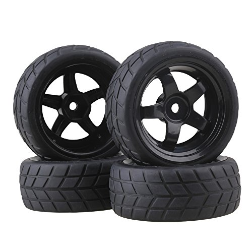 BQLZR Black RC 1: 10 Flat Car 12mm Hub Wheel Rims 5 Spoke + Rubber Tires Pack of 4