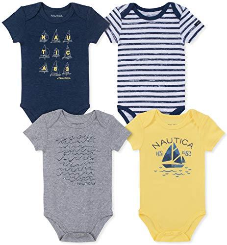 Nautica Baby Boys 4 Pieces Pack Bodysuits, Navy/Gray/Citrus, 12M